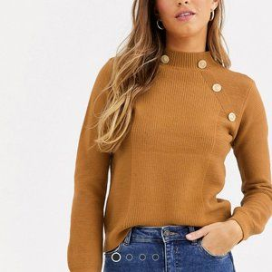 River Island turtleneck sweater w gold buttons